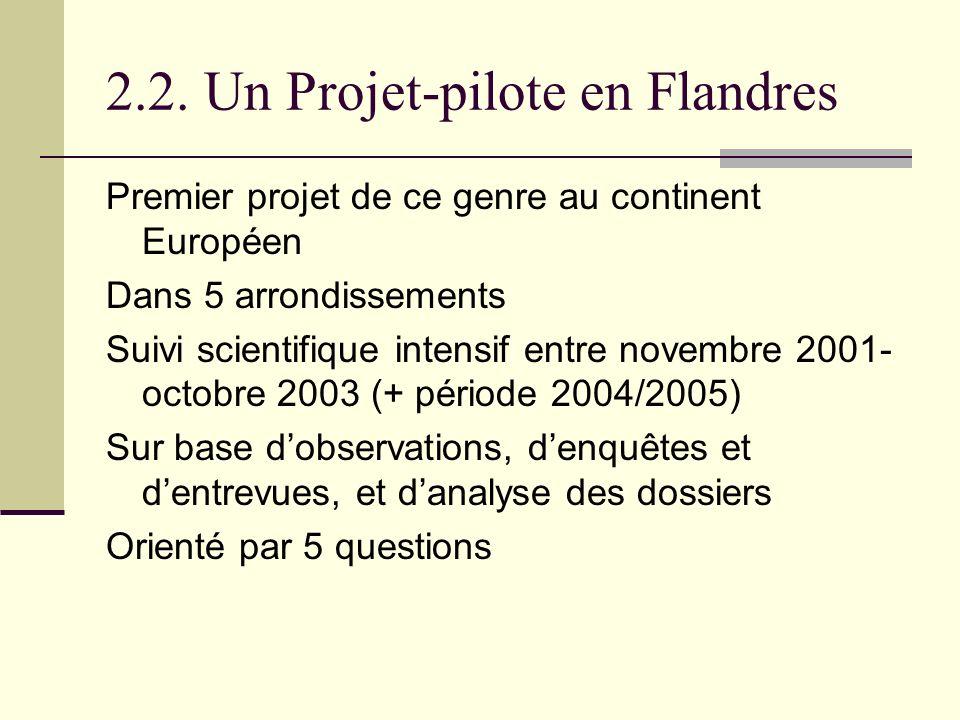 2.2. Un Projet-pilote en Flandres Premier projet de ce genre au continent Européen Dans 5 arrondissements Suivi scientifique intensif entre novembre 2