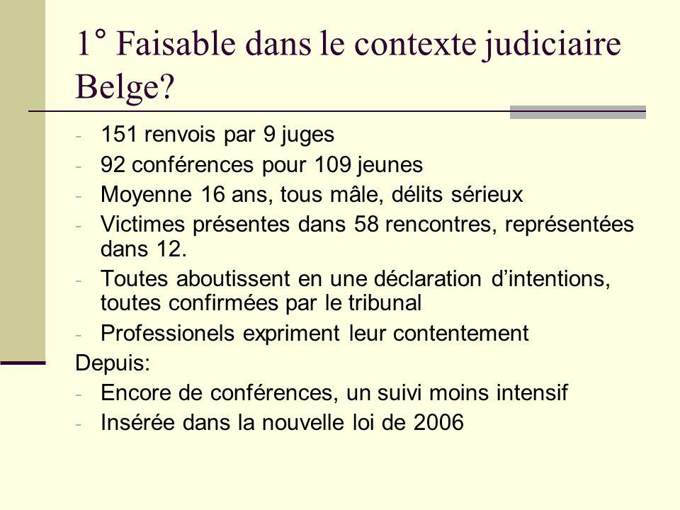 1° Faisable dans le contexte judiciaire Belge? - 151 renvois par 9 juges - 92 conférences pour 109 jeunes - Moyenne 16 ans, tous mâle, délits sérieux