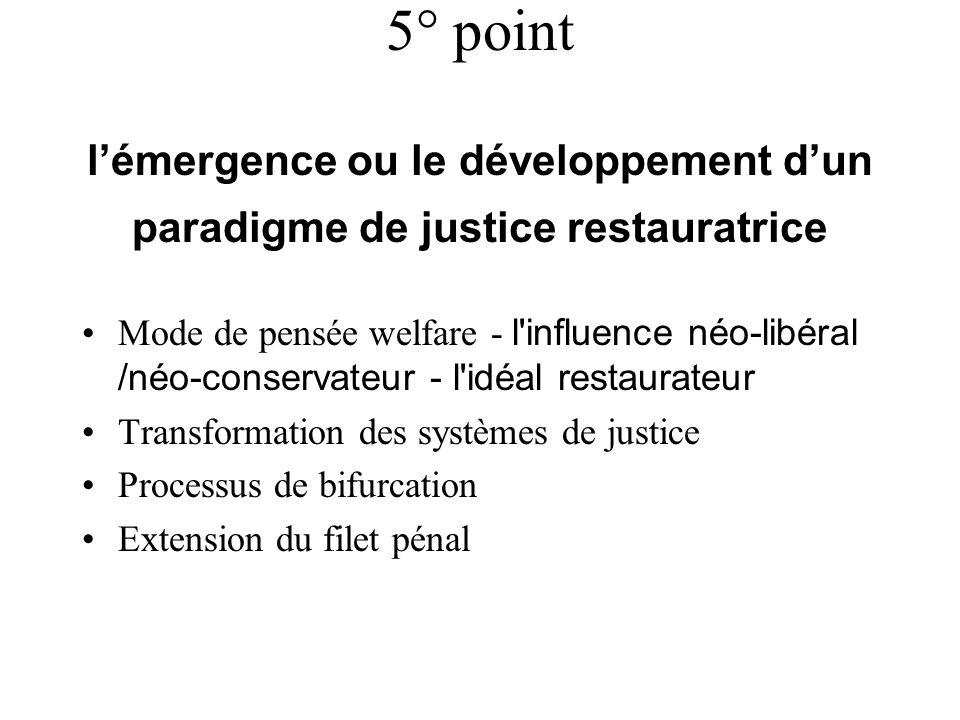 5° point lémergence ou le développement dun paradigme de justice restauratrice Mode de pensée welfare - l'influence néo-libéral /néo-conservateur - l'