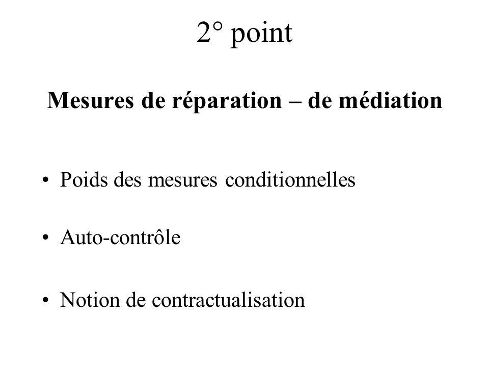 2° point Mesures de réparation – de médiation Poids des mesures conditionnelles Auto-contrôle Notion de contractualisation