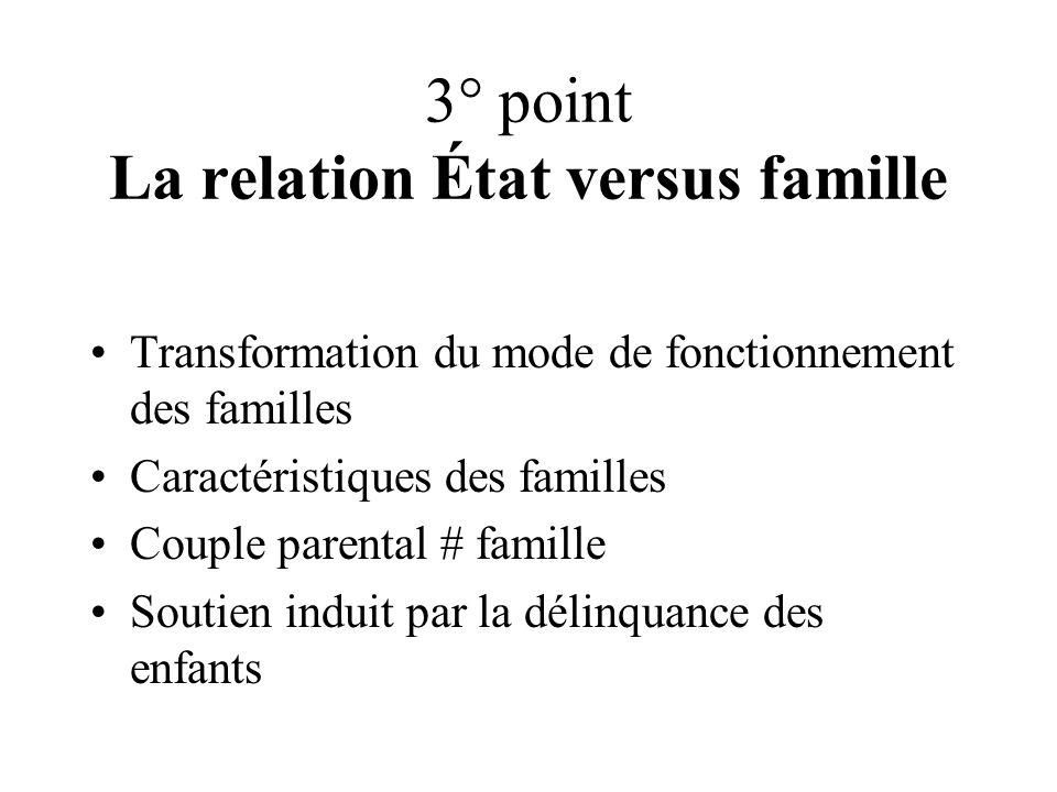 3° point La relation État versus famille Transformation du mode de fonctionnement des familles Caractéristiques des familles Couple parental # famille