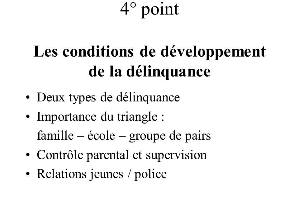 4° point Les conditions de développement de la délinquance Deux types de délinquance Importance du triangle : famille – école – groupe de pairs Contrô