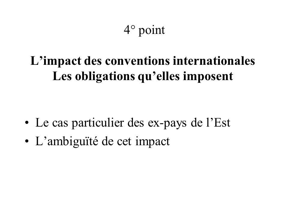 4° point Limpact des conventions internationales Les obligations quelles imposent Le cas particulier des ex-pays de lEst Lambiguïté de cet impact