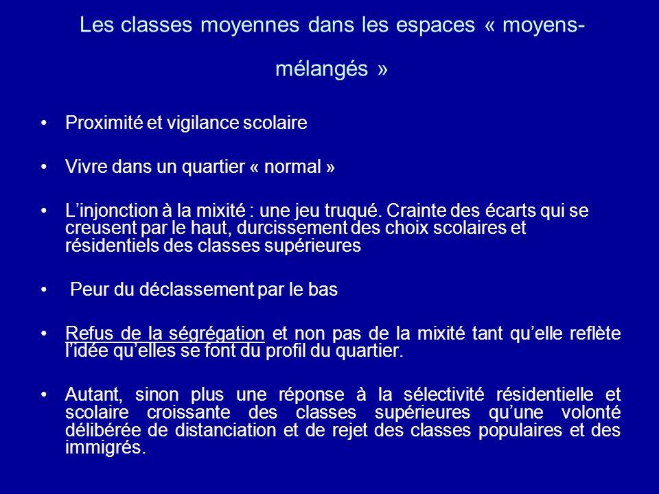 Les classes moyennes dans les espaces « moyens- mélangés » Proximité et vigilance scolaire Vivre dans un quartier « normal » Linjonction à la mixité :