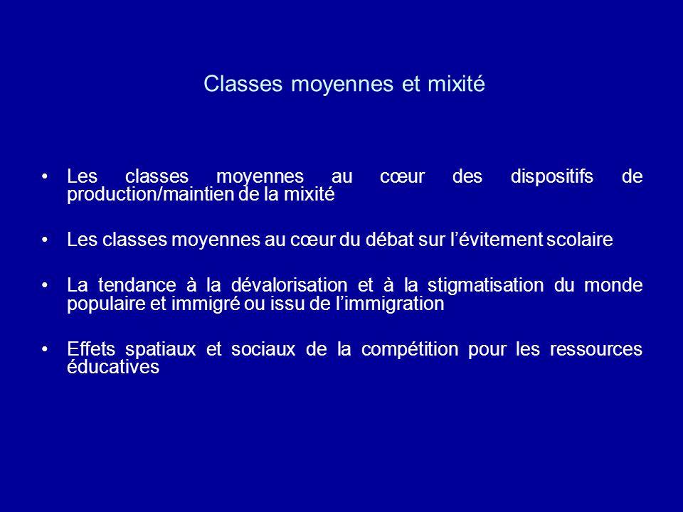 Classes moyennes et mixité Les classes moyennes au cœur des dispositifs de production/maintien de la mixité Les classes moyennes au cœur du débat sur