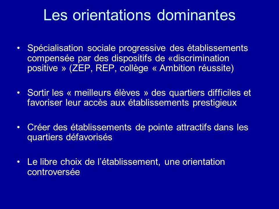 Les orientations dominantes Spécialisation sociale progressive des établissements compensée par des dispositifs de «discrimination positive » (ZEP, RE