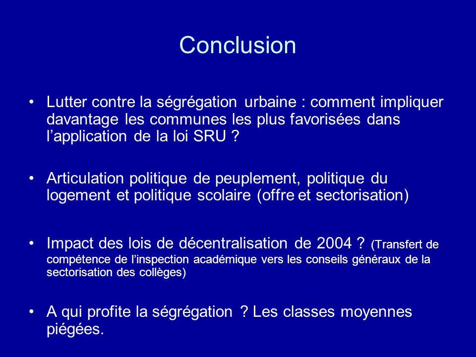 Conclusion Lutter contre la ségrégation urbaine : comment impliquer davantage les communes les plus favorisées dans lapplication de la loi SRU ? Artic