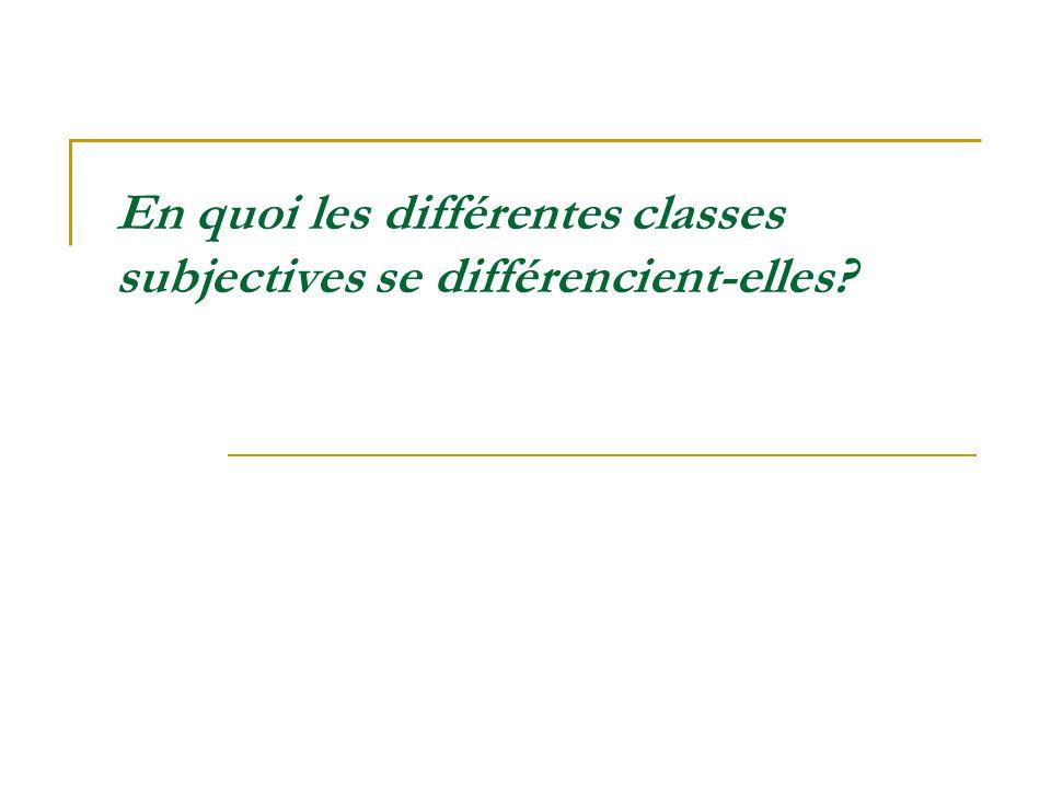 En quoi les différentes classes subjectives se différencient-elles