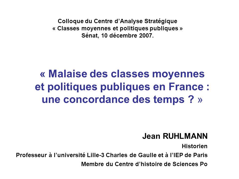 Colloque du Centre dAnalyse Stratégique « Classes moyennes et politiques publiques » Sénat, 10 décembre 2007.