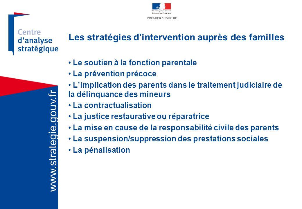 PREMIER MINISTRE www.strategie.gouv.fr Les stratégies dintervention auprès des familles Le soutien à la fonction parentale La prévention précoce Limpl