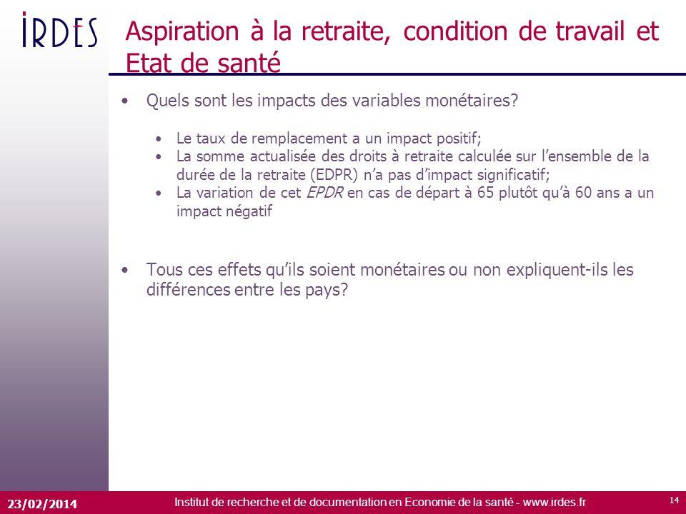 Institut de recherche et de documentation en Economie de la santé - www.irdes.fr 23/02/2014 14 Aspiration à la retraite, condition de travail et Etat de santé Quels sont les impacts des variables monétaires.