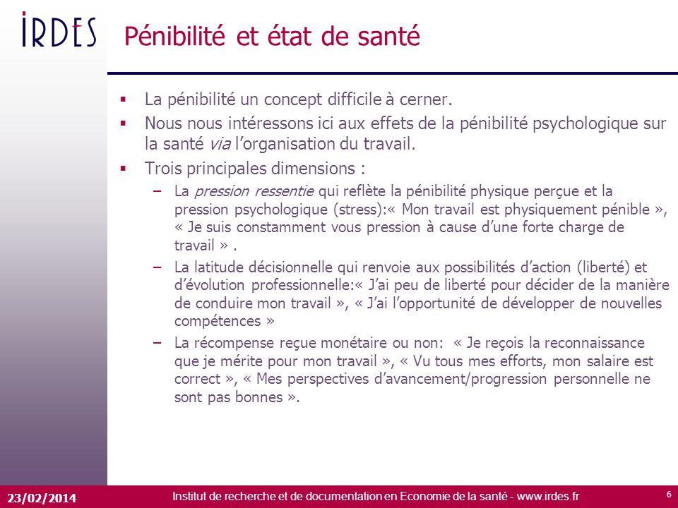 Institut de recherche et de documentation en Economie de la santé - www.irdes.fr 23/02/2014 6 Pénibilité et état de santé La pénibilité un concept difficile à cerner.