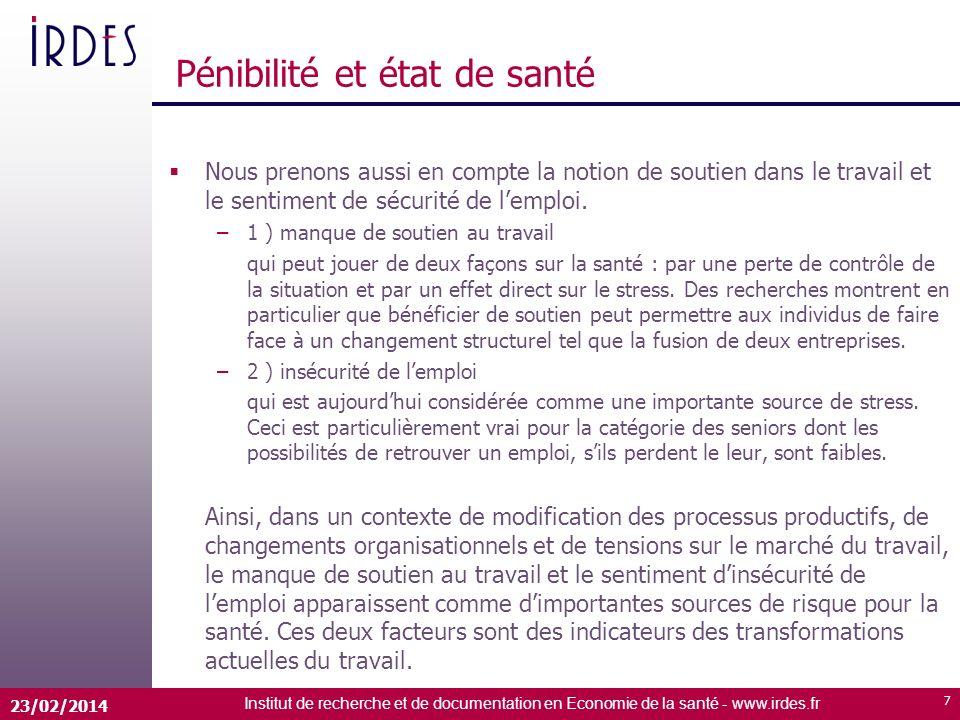 Institut de recherche et de documentation en Economie de la santé - www.irdes.fr 23/02/2014 7 Pénibilité et état de santé Nous prenons aussi en compte la notion de soutien dans le travail et le sentiment de sécurité de lemploi.