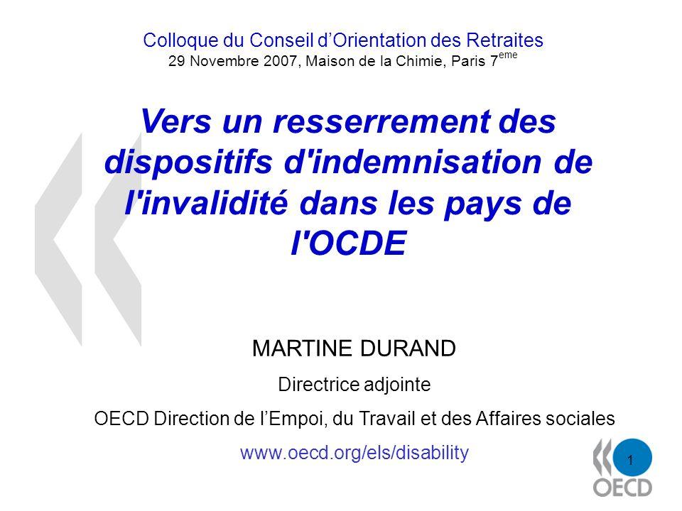1 Vers un resserrement des dispositifs d'indemnisation de l'invalidité dans les pays de l'OCDE MARTINE DURAND Directrice adjointe OECD Direction de lE