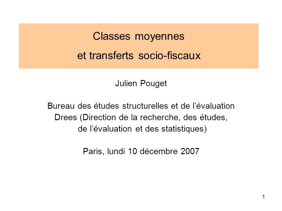 1 Classes moyennes et transferts socio-fiscaux Julien Pouget Bureau des études structurelles et de lévaluation Drees (Direction de la recherche, des é