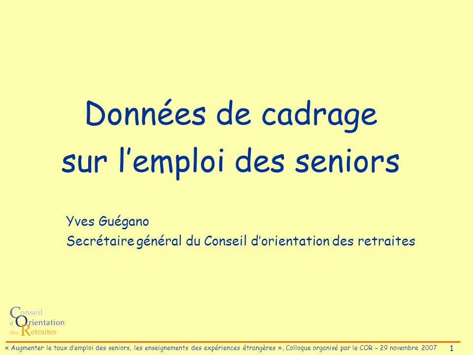 2 « Augmenter le taux demploi des seniors, les enseignements des expériences étrangères », Colloque organisé par le COR – 29 novembre 2007 Proportion de personnes âgées de 55 à 64 ans en emploi (2005)
