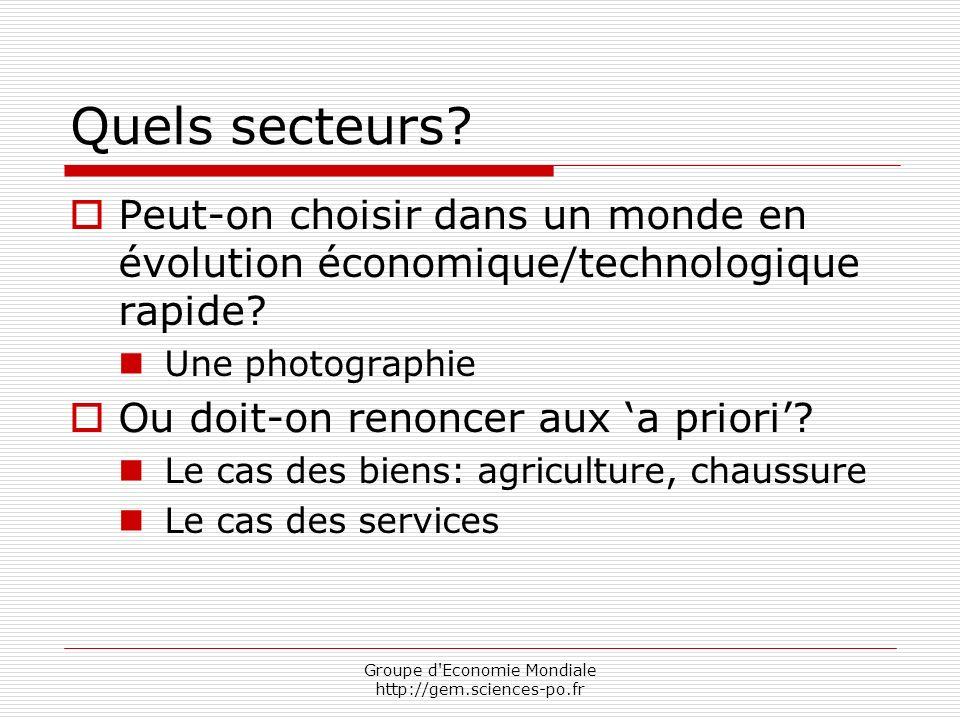 Groupe d Economie Mondiale http://gem.sciences-po.fr Quels secteurs.