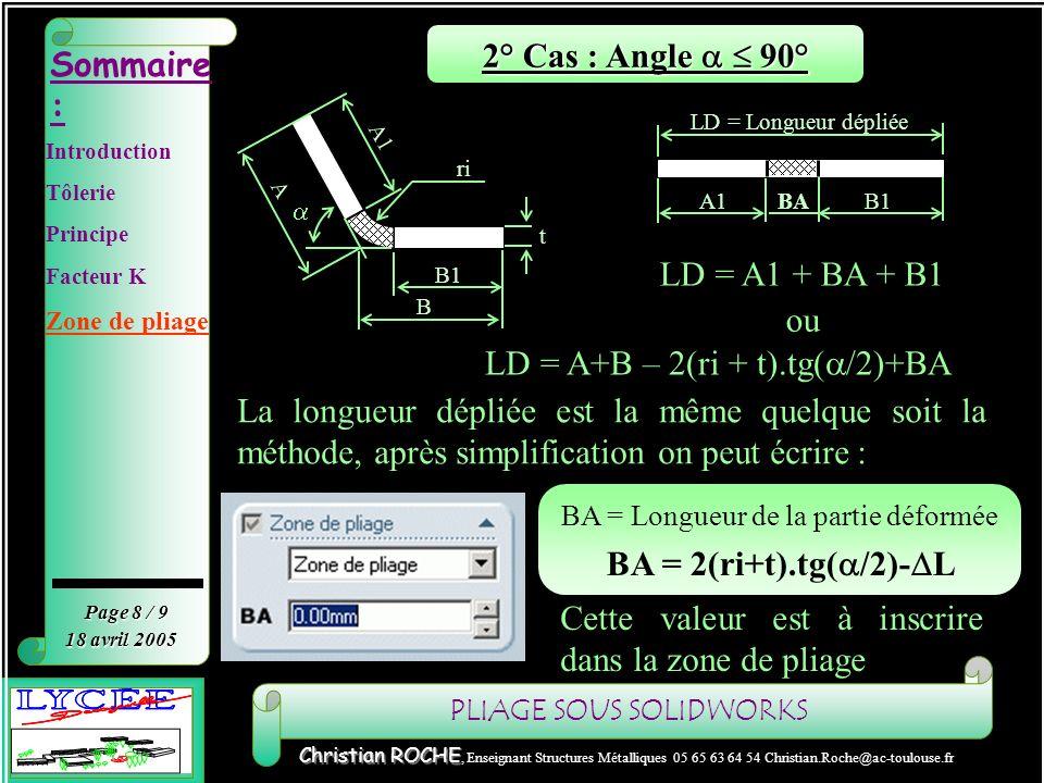PLIAGE SOUS SOLIDWORKS Sommaire : Page 9 / 9 Christian ROCHE Christian ROCHE, Enseignant Structures Métalliques 05 65 63 64 54 Christian.Roche@ac-toulouse.fr 18 avril 2005 Zone de pliage Application 2 r 2 A B Application : Ep=2 ri=2 Pour = 90° => L=3.8 : BA = 2(t+ri)- L BA = 2(2+2)-3.8 BA = 4.2 Ep=2 ri=2 Pour = 45° => L=1.2 : BA = 2(t+ri).tg( /2)- L BA = 2(2+2).tg(45/2)-1.2 BA = 2.1 r 2 B A 2 Introduction Tôlerie Principe Facteur K Zone de pliage
