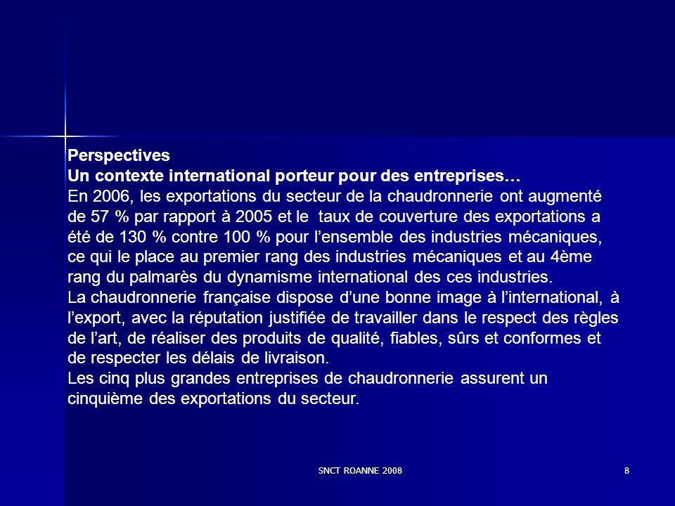 SNCT ROANNE 20088 Perspectives Un contexte international porteur pour des entreprises… En 2006, les exportations du secteur de la chaudronnerie ont au