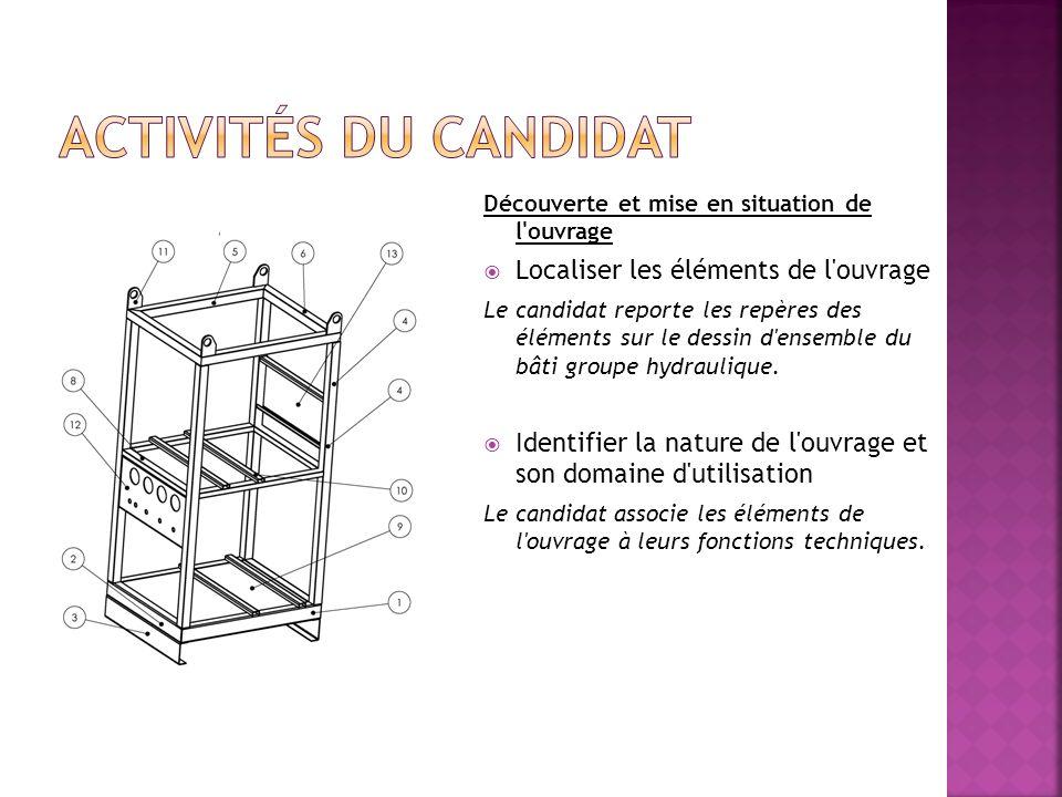 Découverte et mise en situation de l'ouvrage Localiser les éléments de l'ouvrage Le candidat reporte les repères des éléments sur le dessin d'ensemble