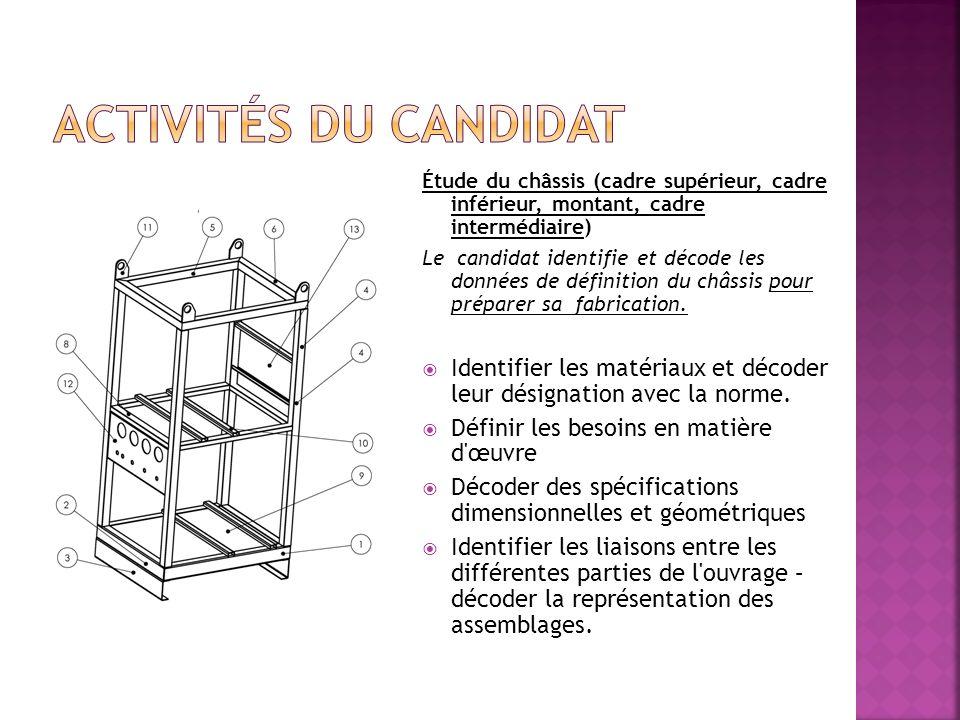 Étude du châssis (cadre supérieur, cadre inférieur, montant, cadre intermédiaire) Le candidat identifie et décode les données de définition du châssis