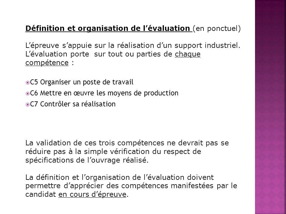 Définition et organisation de lévaluation (en ponctuel) Lépreuve sappuie sur la réalisation dun support industriel. Lévaluation porte sur tout ou part