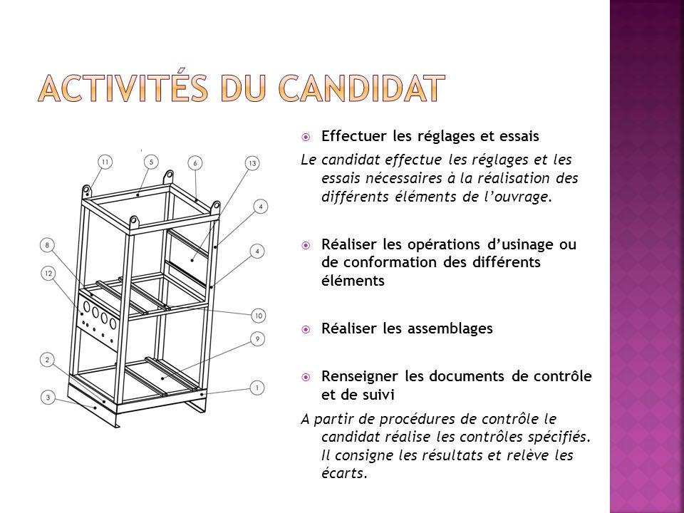 Effectuer les réglages et essais Le candidat effectue les réglages et les essais nécessaires à la réalisation des différents éléments de louvrage. Réa
