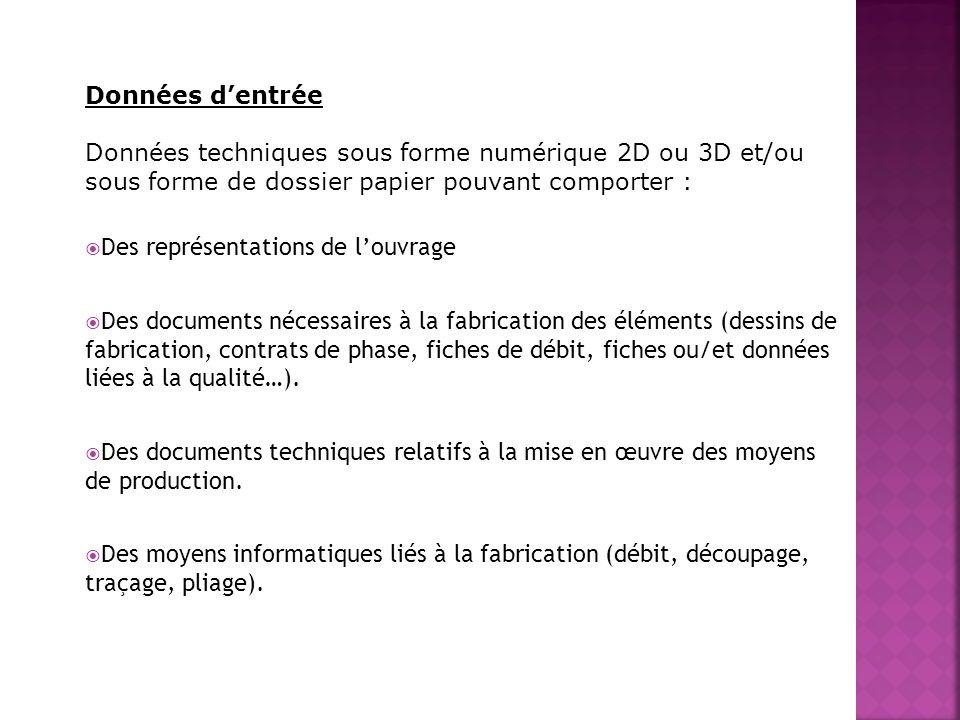 Données dentrée Données techniques sous forme numérique 2D ou 3D et/ou sous forme de dossier papier pouvant comporter : Des représentations de louvrag