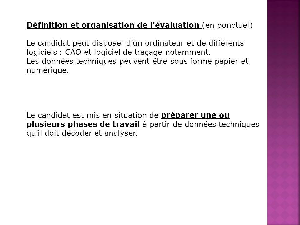 Définition et organisation de lévaluation (en ponctuel) Le candidat peut disposer dun ordinateur et de différents logiciels : CAO et logiciel de traça