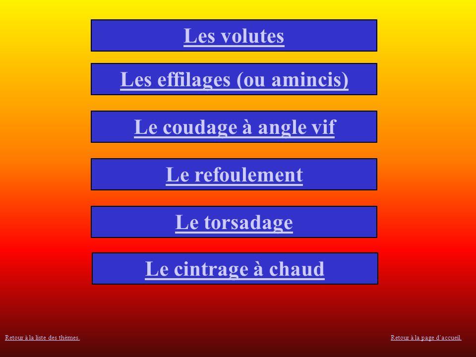 Les volutes Les effilages (ou amincis) Le coudage à angle vif Le refoulement Le torsadage Le cintrage à chaud Retour à la page daccueil.Retour à la liste des thèmes.