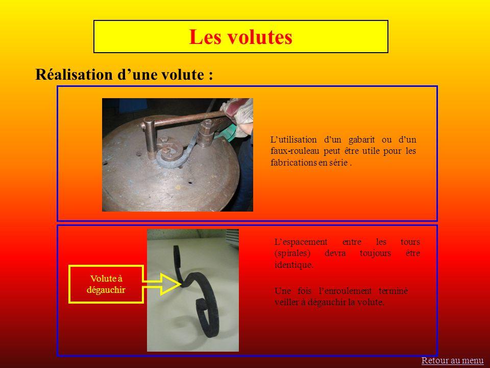 Les volutes Réalisation dune volute : Lutilisation dun gabarit ou dun faux-rouleau peut être utile pour les fabrications en série.