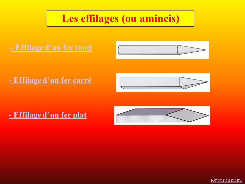 Les effilages (ou amincis) - Effilage dun fer rond - Effilage dun fer carré - Effilage dun fer plat Retour au menu