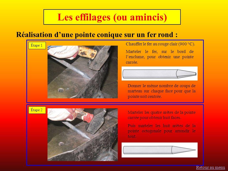 Réalisation dune pointe conique sur un fer rond : Les effilages (ou amincis) Étape 1 Chauffer le fer au rouge clair (900 °C).