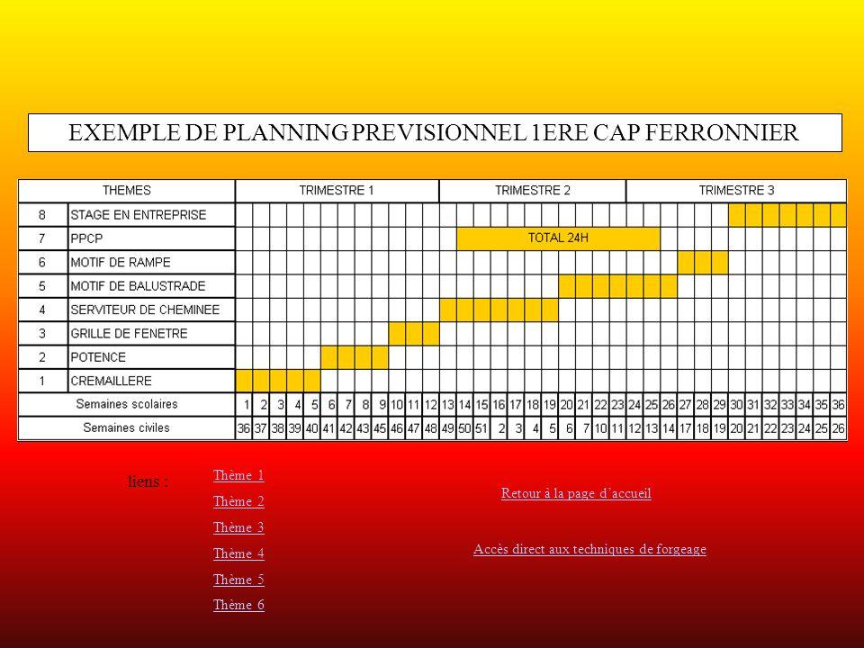 EXEMPLE DE PLANNING PREVISIONNEL 1ERE CAP FERRONNIER liens : Thème 1 Thème 2 Thème 3 Thème 4 Thème 5 Thème 6 Retour à la page daccueil Accès direct aux techniques de forgeage