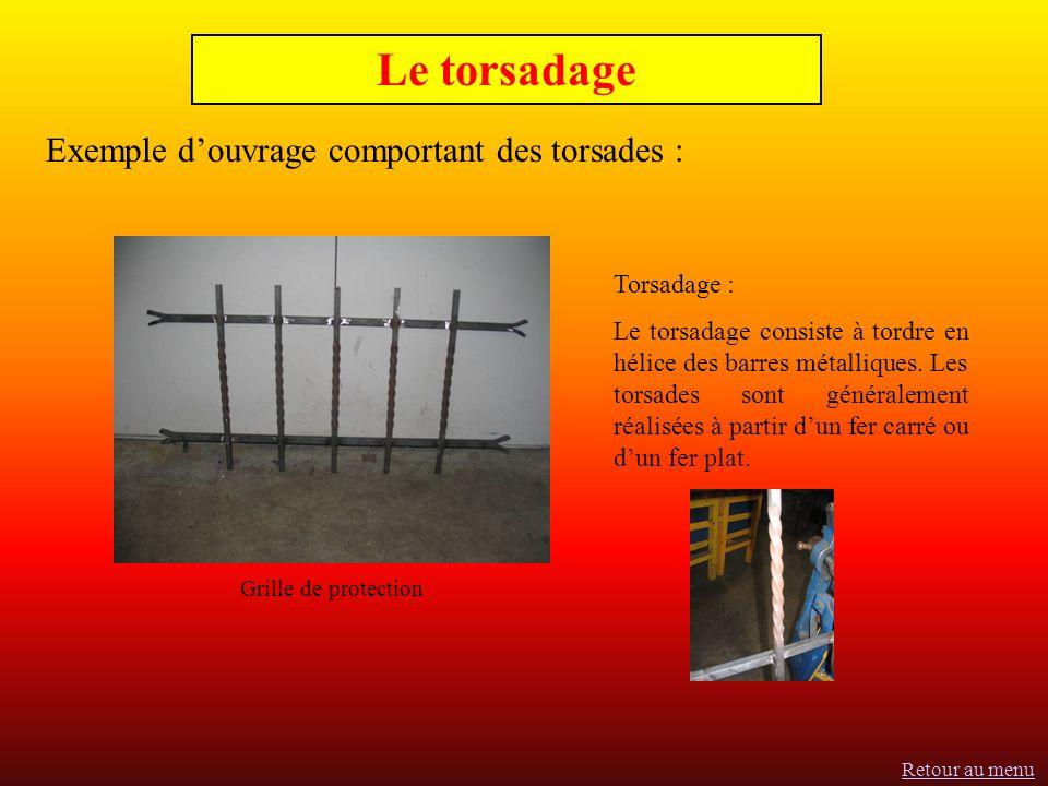 Exemple douvrage comportant des torsades : Le torsadage Torsadage : Le torsadage consiste à tordre en hélice des barres métalliques.