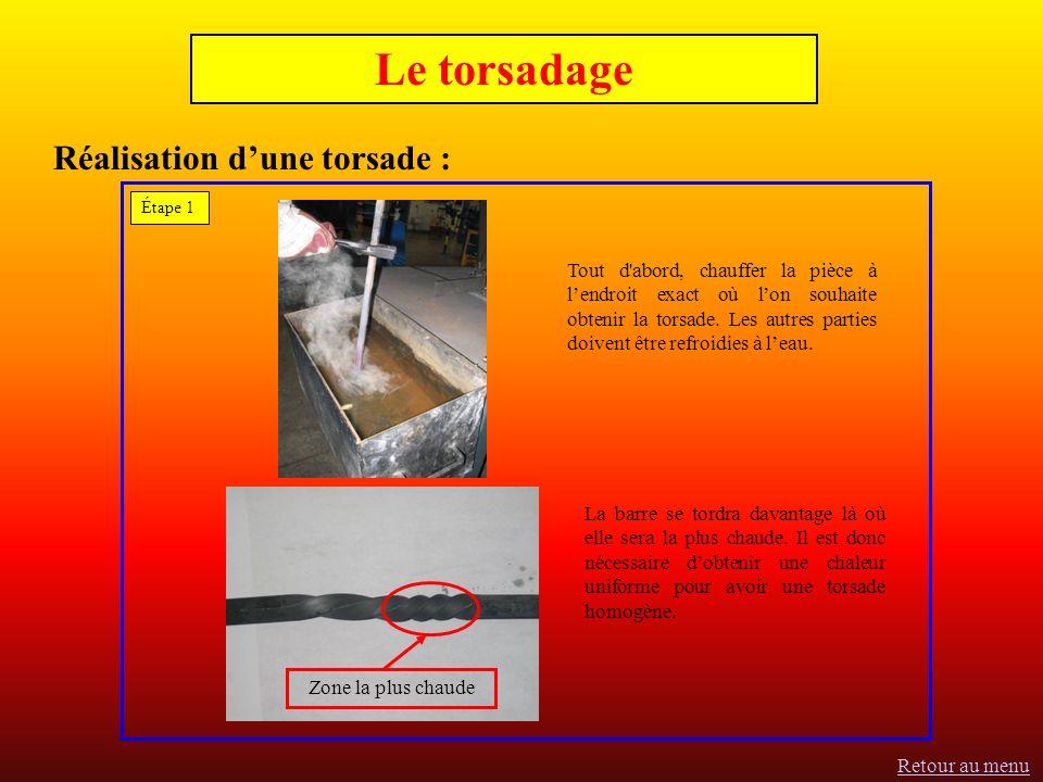 Réalisation dune torsade : Tout d abord, chauffer la pièce à lendroit exact où lon souhaite obtenir la torsade.