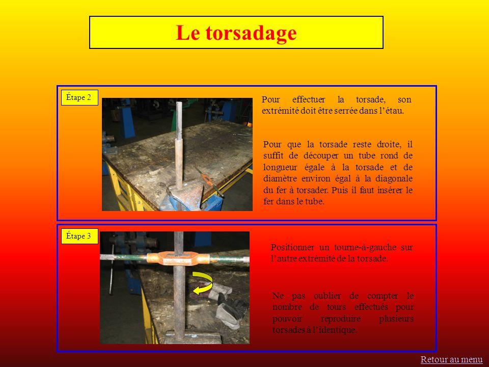 Le torsadage Étape 2 Étape 3 Pour effectuer la torsade, son extrémité doit être serrée dans létau.