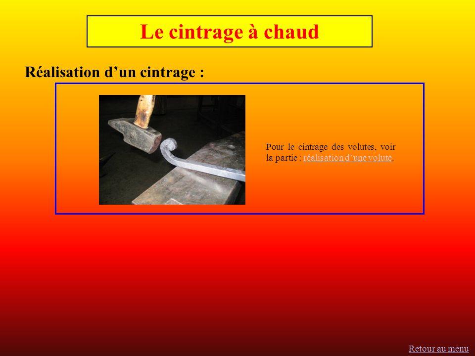 Le cintrage à chaud Réalisation dun cintrage : Pour le cintrage des volutes, voir la partie : réalisation dune volute.réalisation dune volute Retour au menu