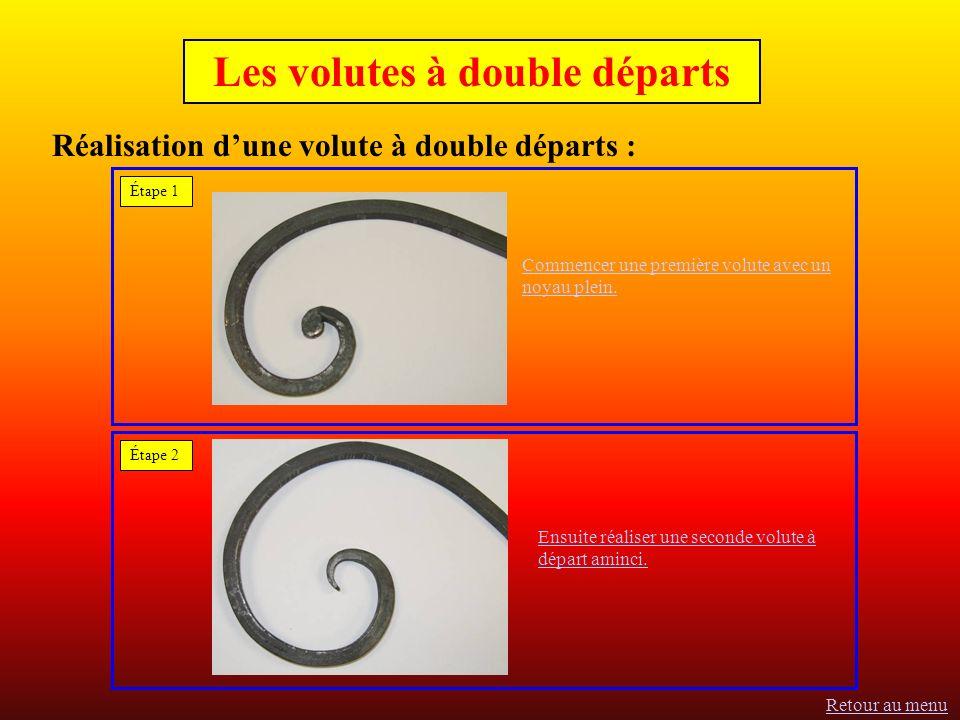 Réalisation dune volute à double départs : Commencer une première volute avec un noyau plein.