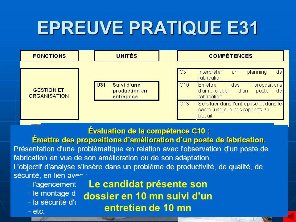 EPREUVE PRATIQUE E32 Contexte : fabrication en série dun élément par une équipe Organiser et installer les postes de fabrication.