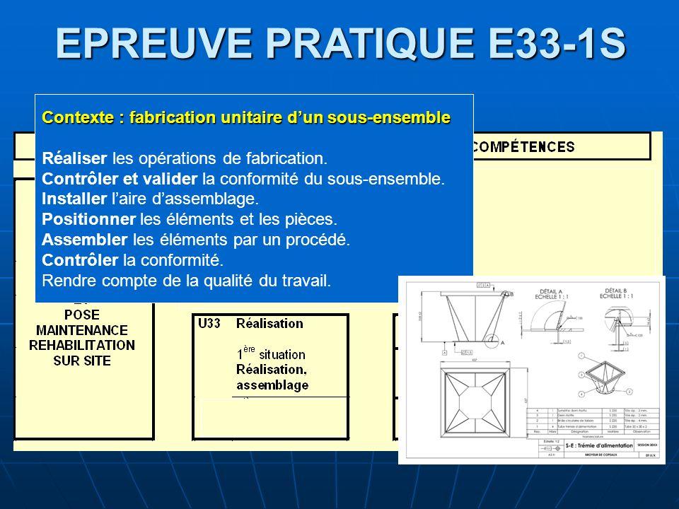 EPREUVE PRATIQUE E33-1S Contexte : fabrication unitaire dun sous-ensemble Réaliser les opérations de fabrication. Contrôler et valider la conformité d