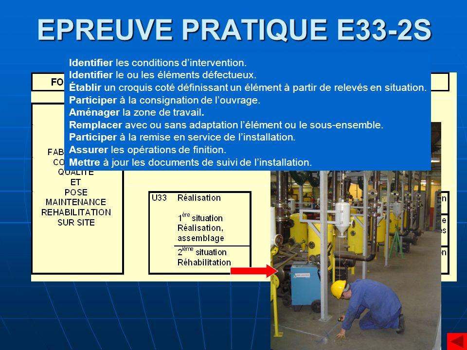 EPREUVE PRATIQUE E33-2S Identifier les conditions dintervention. Identifier le ou les éléments défectueux. Établir un croquis coté définissant un élém