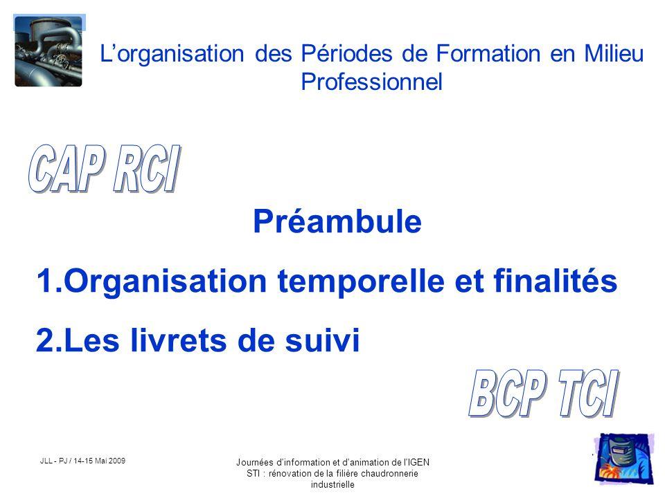 JLL - PJ / 14-15 Mai 2009 Journées d'information et d'animation de l'IGEN STI : rénovation de la filière chaudronnerie industrielle Lorganisation des