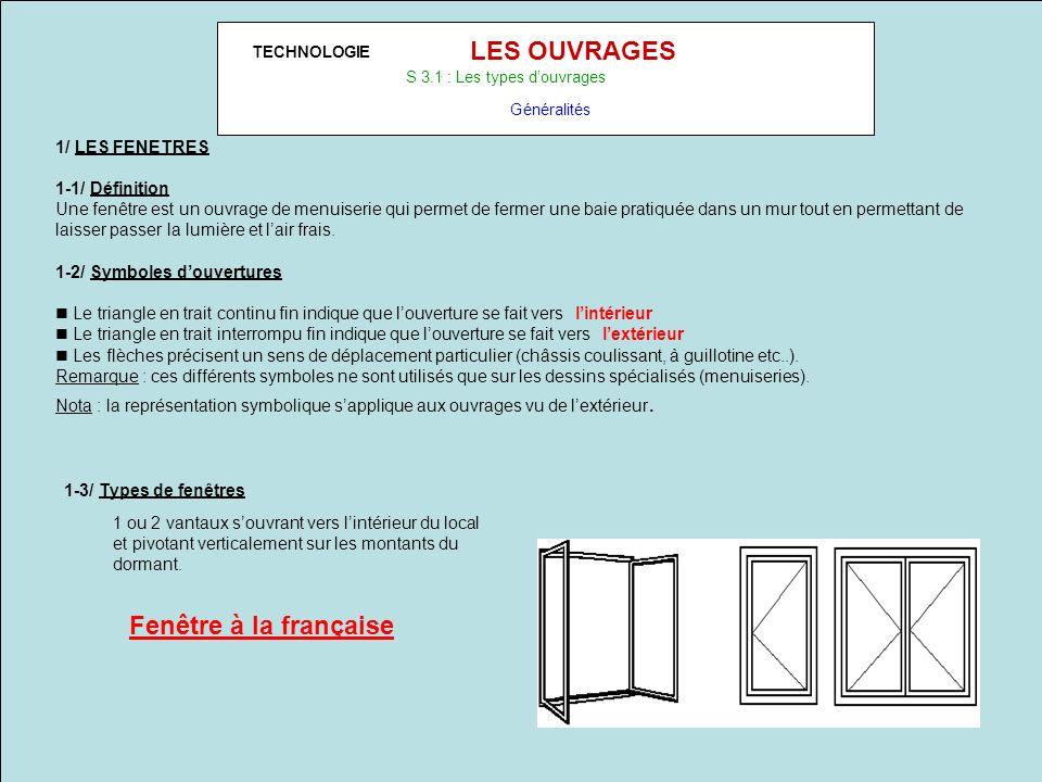 TECHNOLOGIE LES OUVRAGES S 3.1 : Les types douvrages Généralités 1/ LES FENETRES 1-1/ Définition Une fenêtre est un ouvrage de menuiserie qui permet d