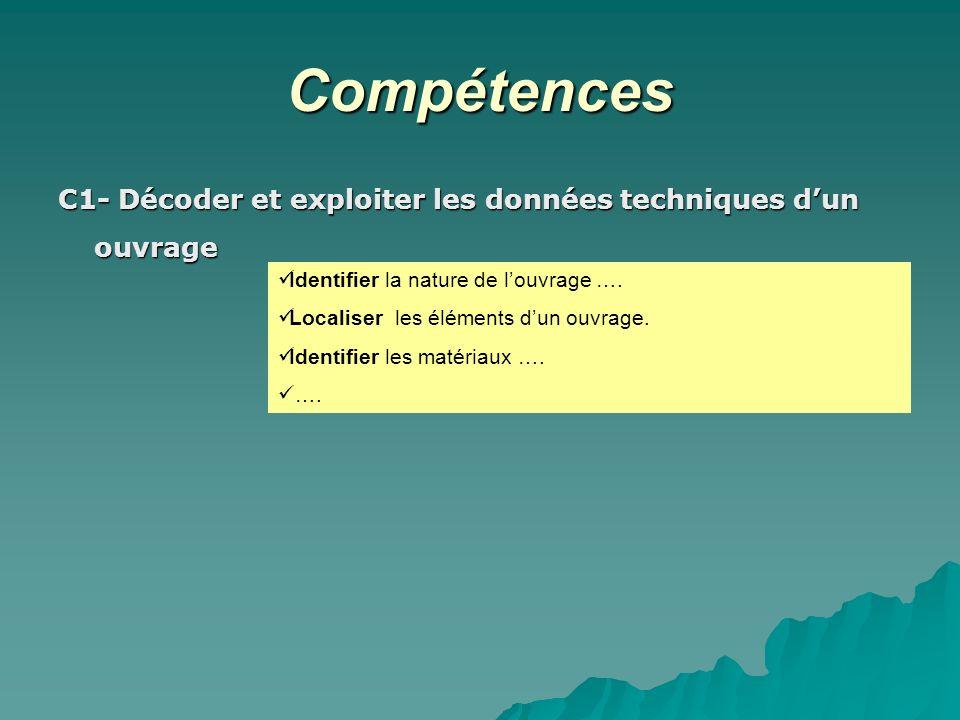 Compétences C1- Décoder et exploiter les données techniques dun ouvrage Identifier la nature de louvrage …. Localiser les éléments dun ouvrage. Identi