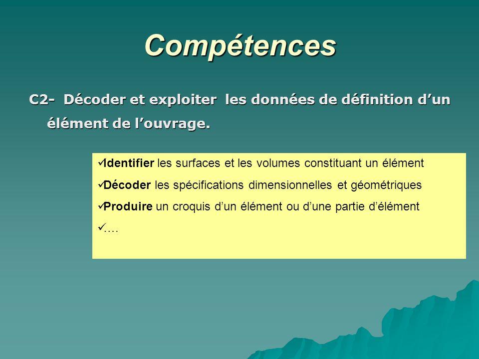 Compétences C2- Décoder et exploiter les données de définition dun élément de louvrage. Identifier les surfaces et les volumes constituant un élément