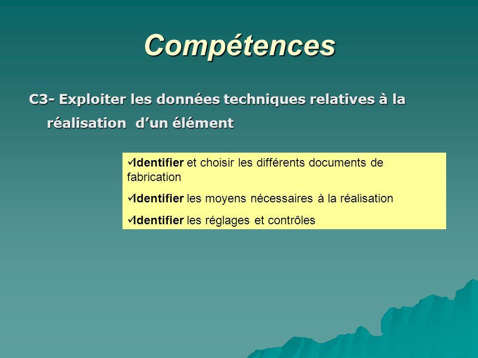 Compétences C3- Exploiter les données techniques relatives à la réalisation dun élément Identifier et choisir les différents documents de fabrication