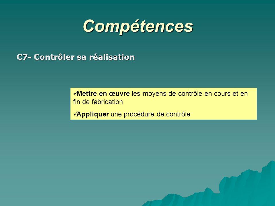 Compétences C7- Contrôler sa réalisation Mettre en œuvre les moyens de contrôle en cours et en fin de fabrication Appliquer une procédure de contrôle