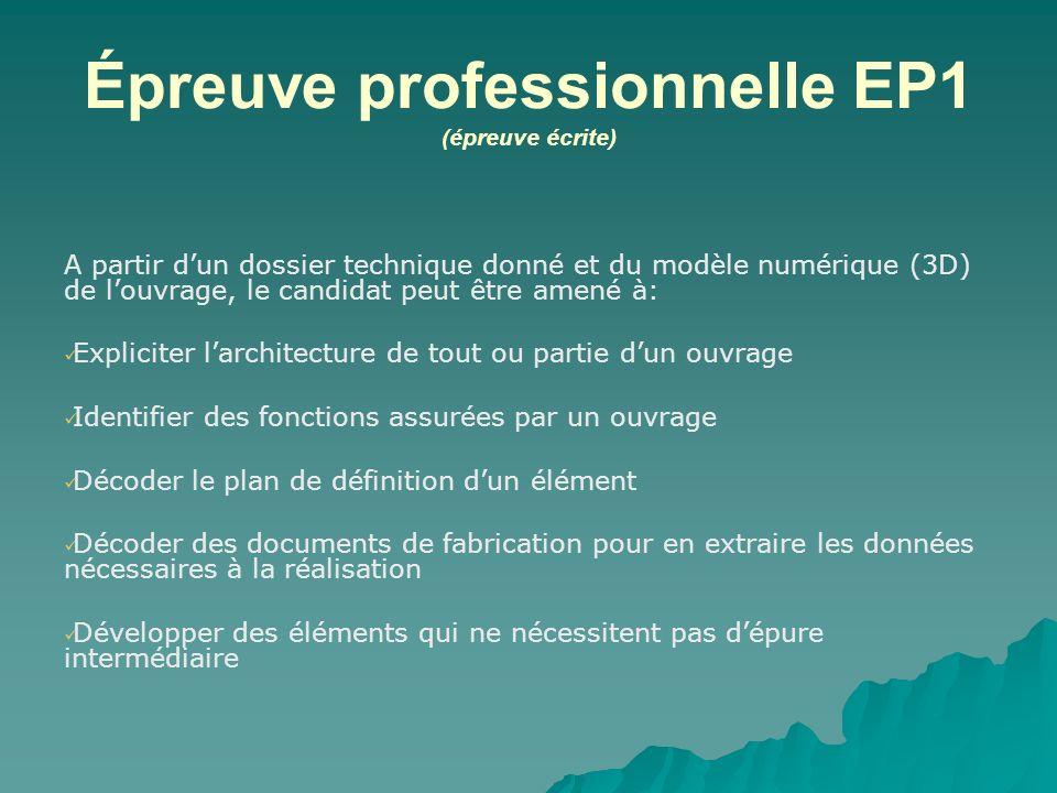 Épreuve professionnelle EP1 (épreuve écrite) A partir dun dossier technique donné et du modèle numérique (3D) de louvrage, le candidat peut être amené