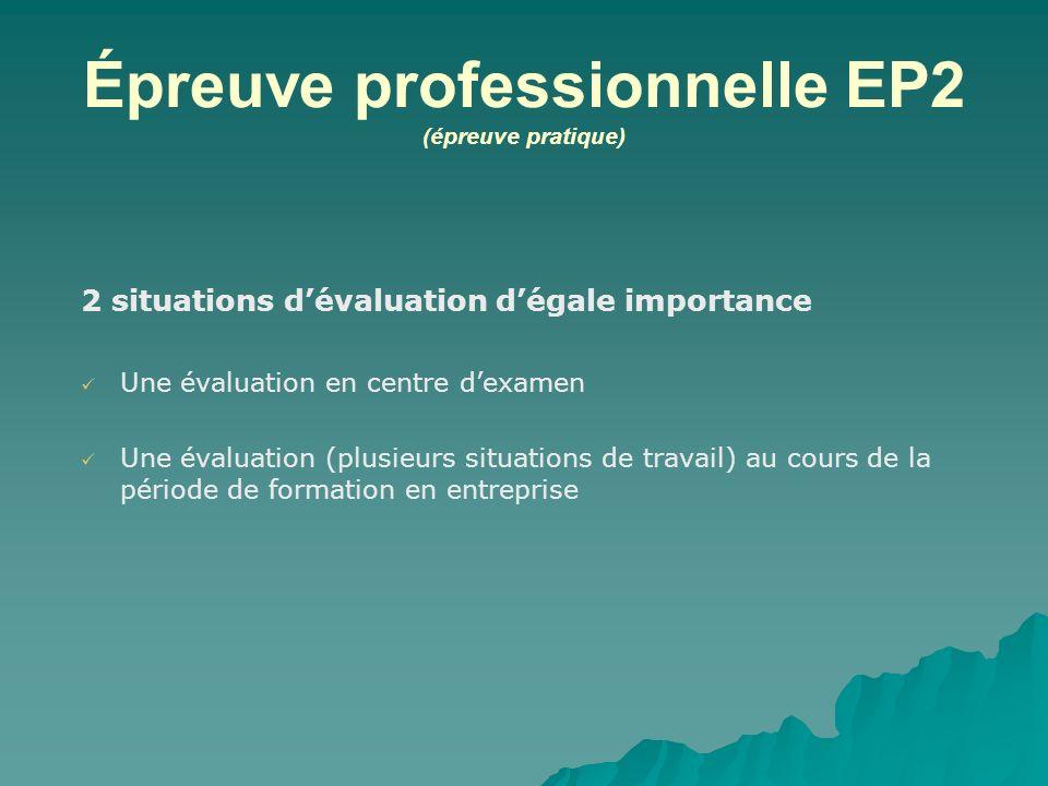 Épreuve professionnelle EP2 (épreuve pratique) 2 situations dévaluation dégale importance Une évaluation en centre dexamen Une évaluation (plusieurs s